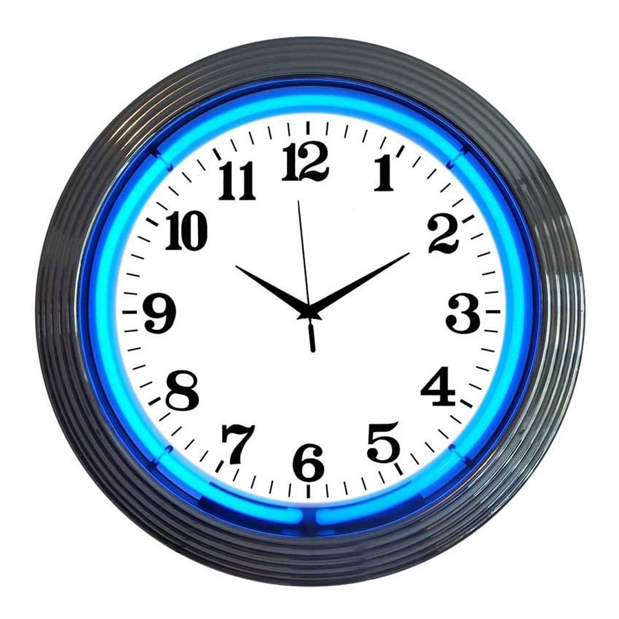 Neonetics Chrome Analog Round Indoor Wall Clock