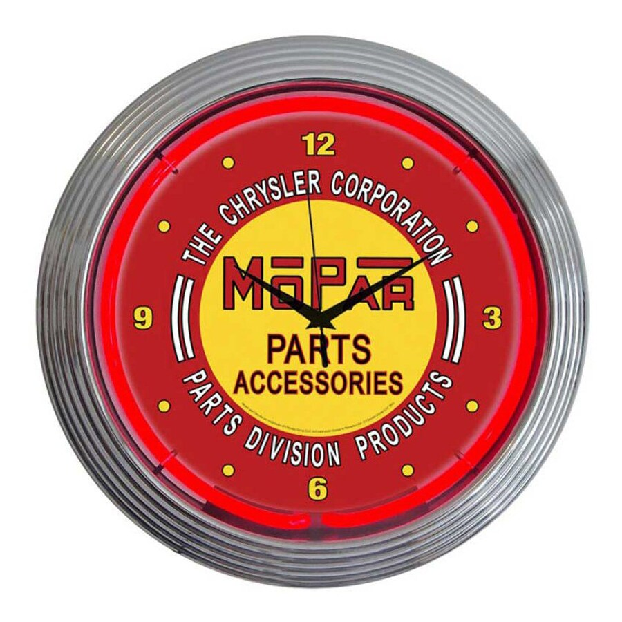 Neonetics Mopar Red Vintage Analog Round Indoor Wall Clock