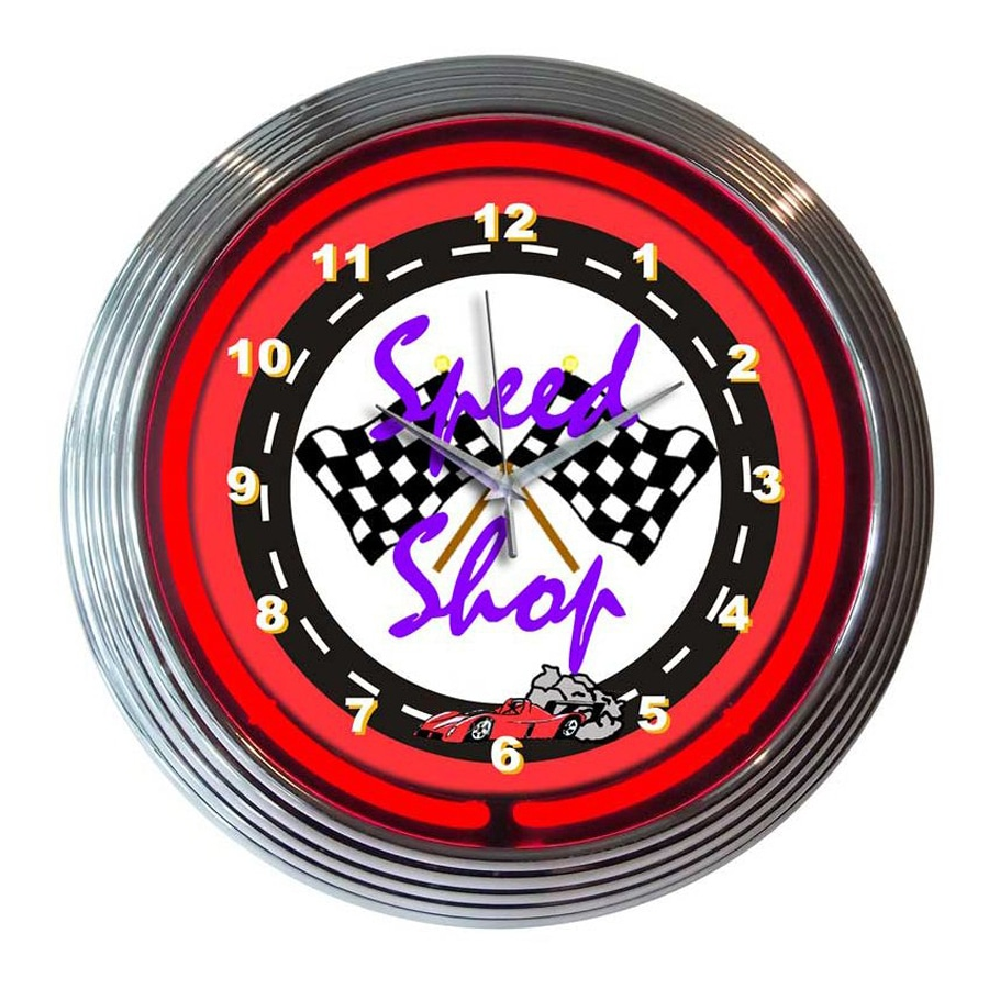 Neonetics Speed Shop Analog Round Indoor Wall Clock
