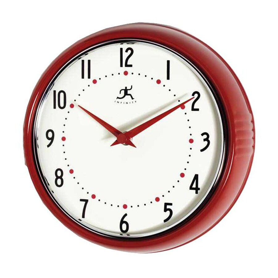 Infinity Instruments Standard Arabic Numeral Retro Red And Silver Wall Clock