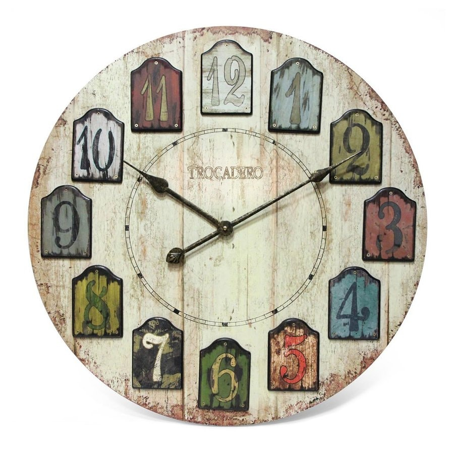 Shop Infinity Instruments Weathered Plank Analog Round Indoor Wall Standard Clock At