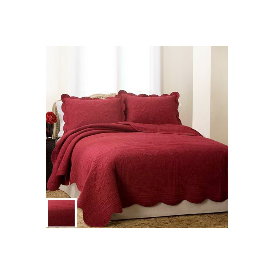 Pem America Outlet French Tile Red King Cotton Quilt