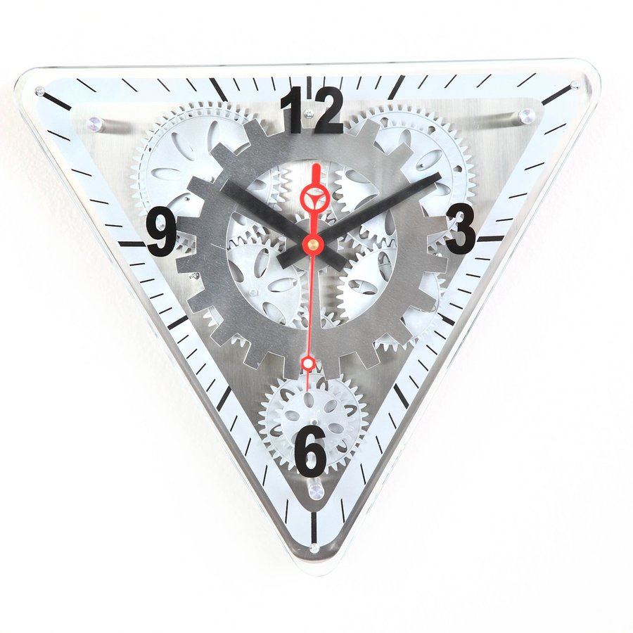 Maple's Moving Gear Analog Triangle Indoor Wall Clock