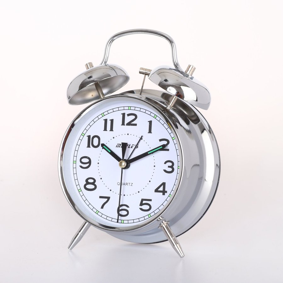 Mapleu0027s Double Bell Analog Round Indoor Tabletop Clock With Alarm