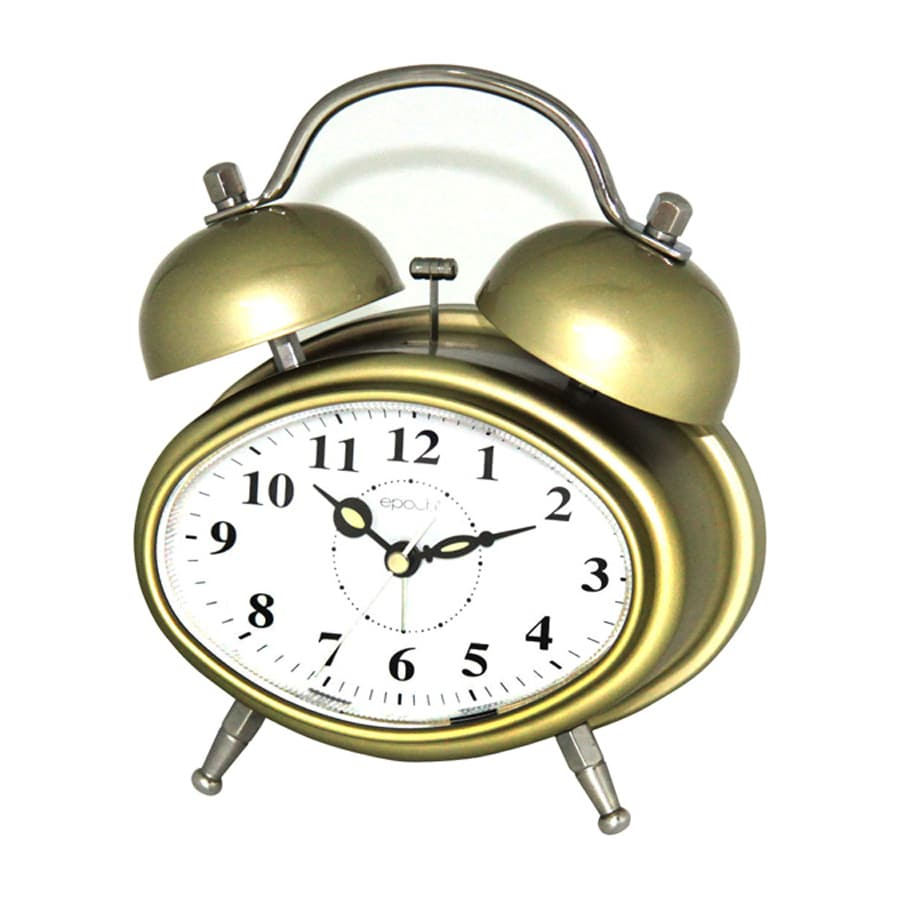 Maple's Double Bell Analog Oval Indoor Tabletop Clock with Alarm