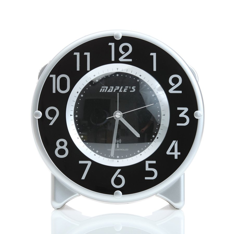 Maple's Radio-Controlled Analog Atomic Round Indoor Tabletop Clock with Alarm