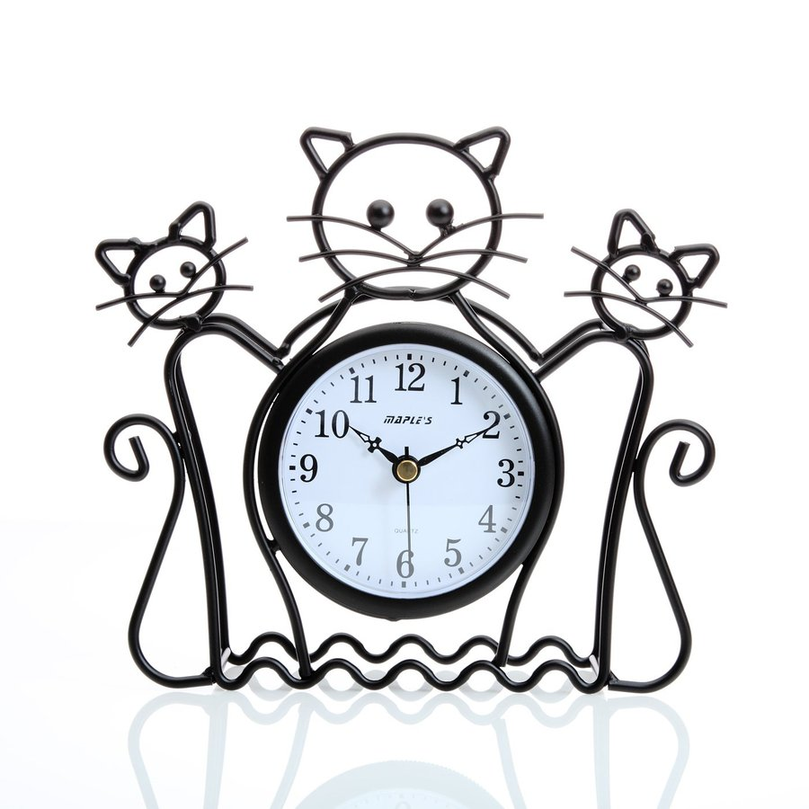 Maple's Cat Silhouette Analog Indoor Tabletop Clock