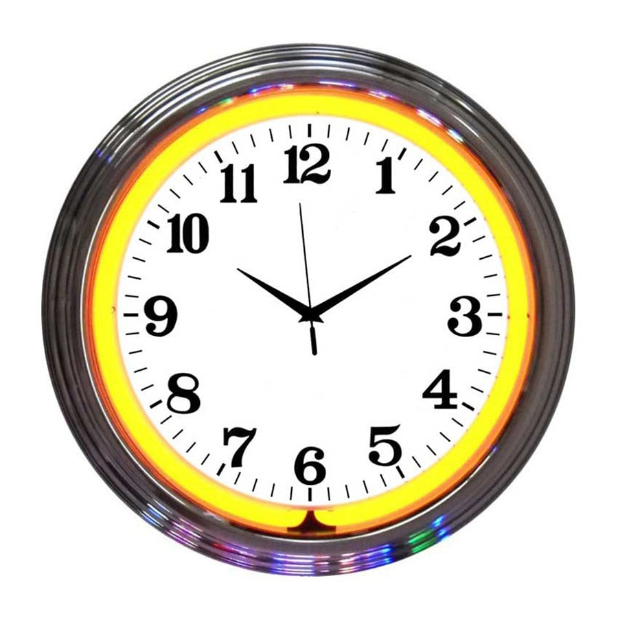 Neonetics Orange Neon Analog Round Indoor Wall Clock