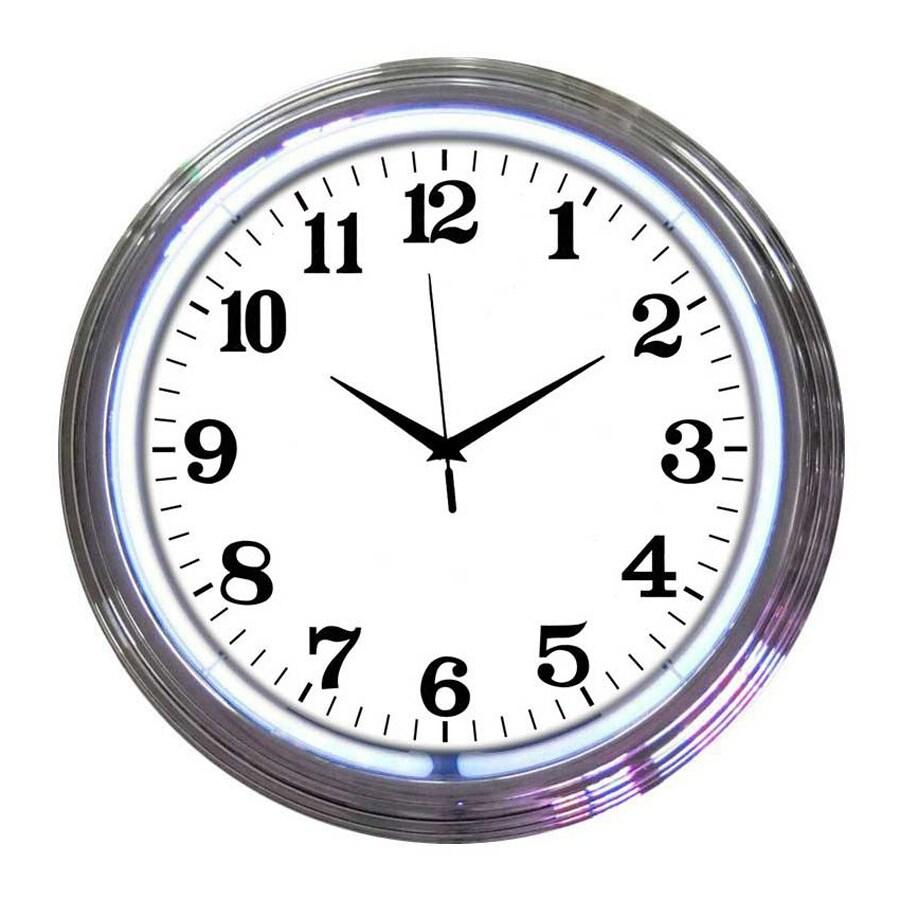 Neonetics White Neon Analog Round Indoor Wall Clock