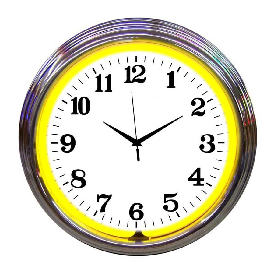 Neonetics Yellow Neon Analog Round Indoor Wall Clock