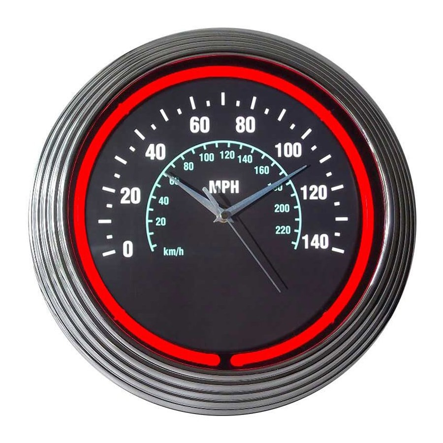 Neonetics Speedometer Analog Round Indoor Wall Clock