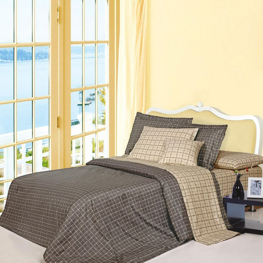 North Home Bedding Matrix 4-Piece Brown Queen Duvet Set