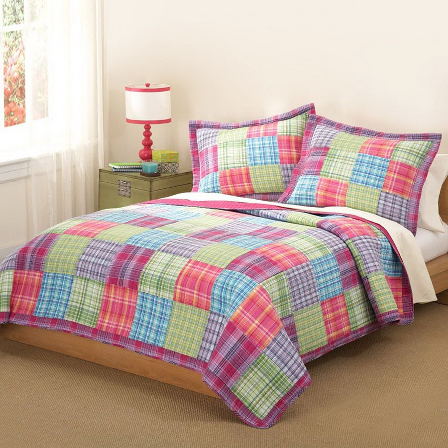 My World Kelsey Pink 3-Piece Multicolor Full/Queen Quilt Set