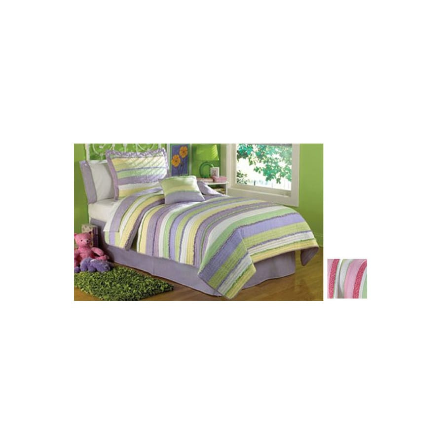 My World Annas Ruffle 3-Piece Pink Full/Queen Quilt Set