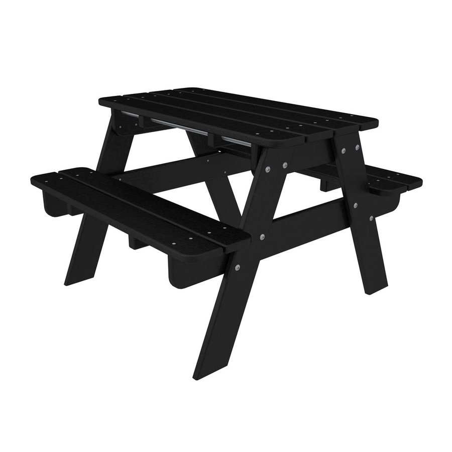 POLYWOOD 33-in Black Plastic Rectangle Picnic Table