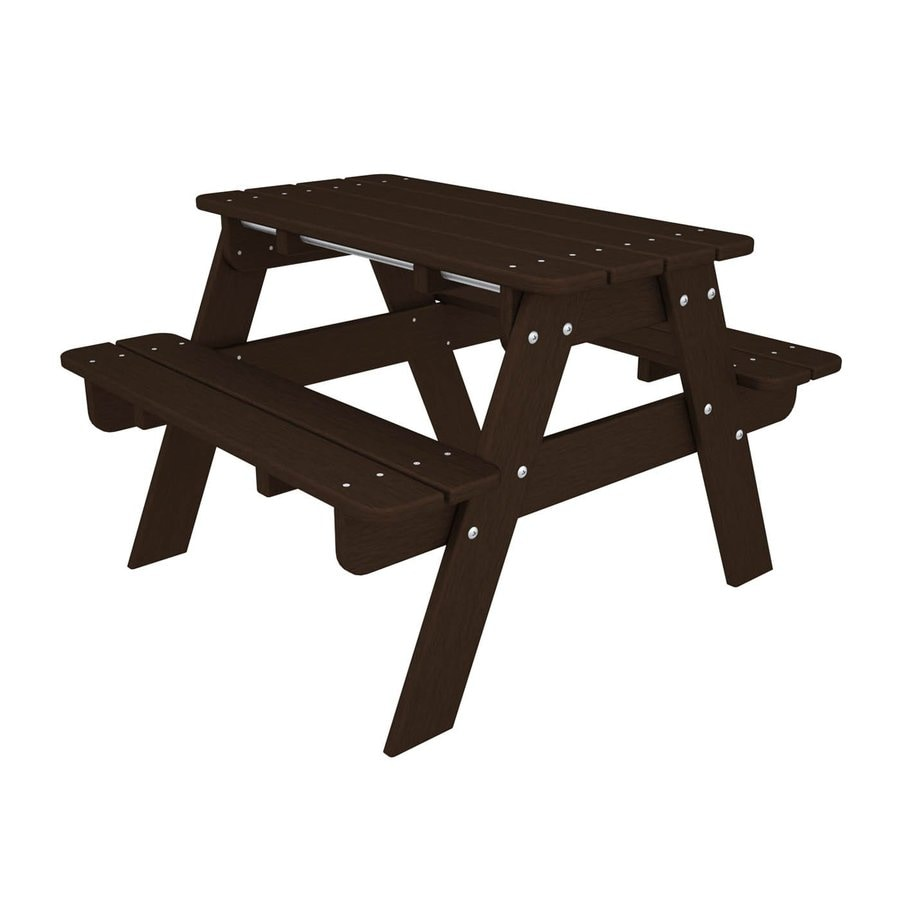 POLYWOOD 33-in Brown Plastic Rectangle Picnic Table