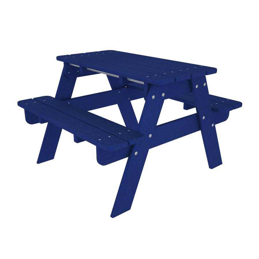 POLYWOOD 33-in Blue Plastic Rectangle Picnic Table
