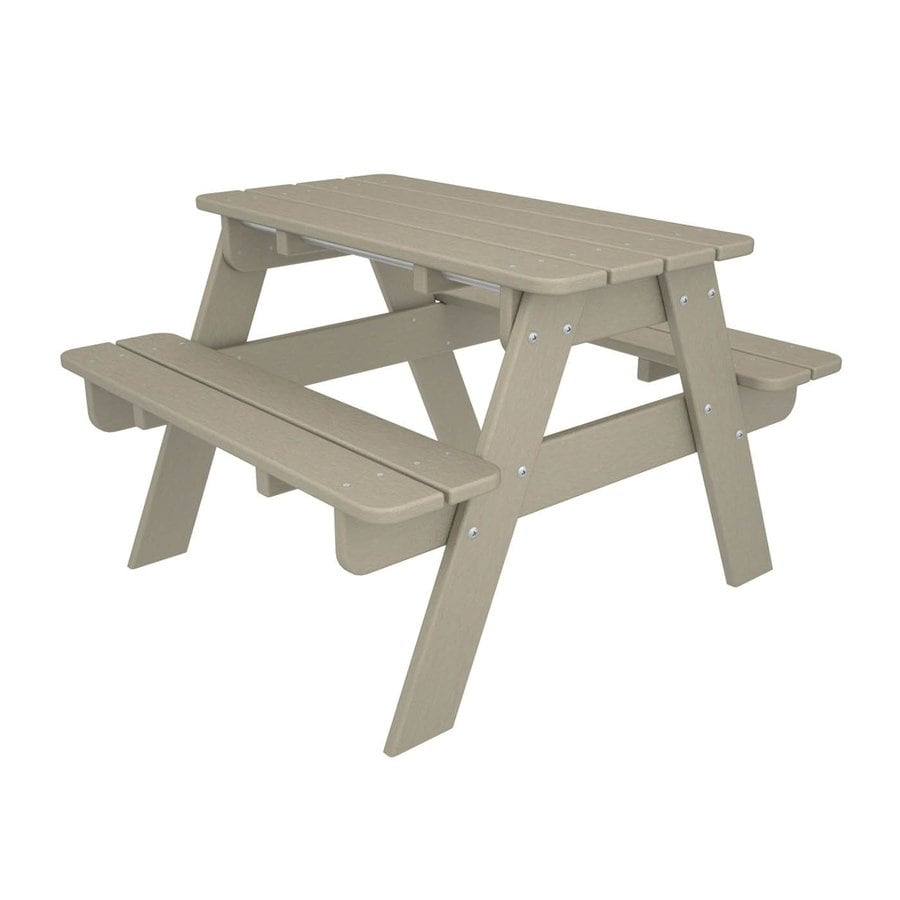 POLYWOOD 33-in Cream Plastic Rectangle Picnic Table