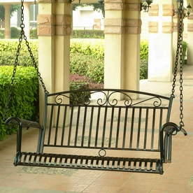 International Caravan Tropico Antique Black Iron Porch Swing
