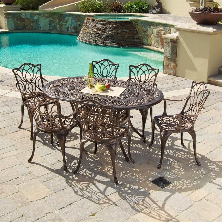 Best Selling Home Decor Hatian 7-Piece Antique Copper Aluminum Patio Dining Set