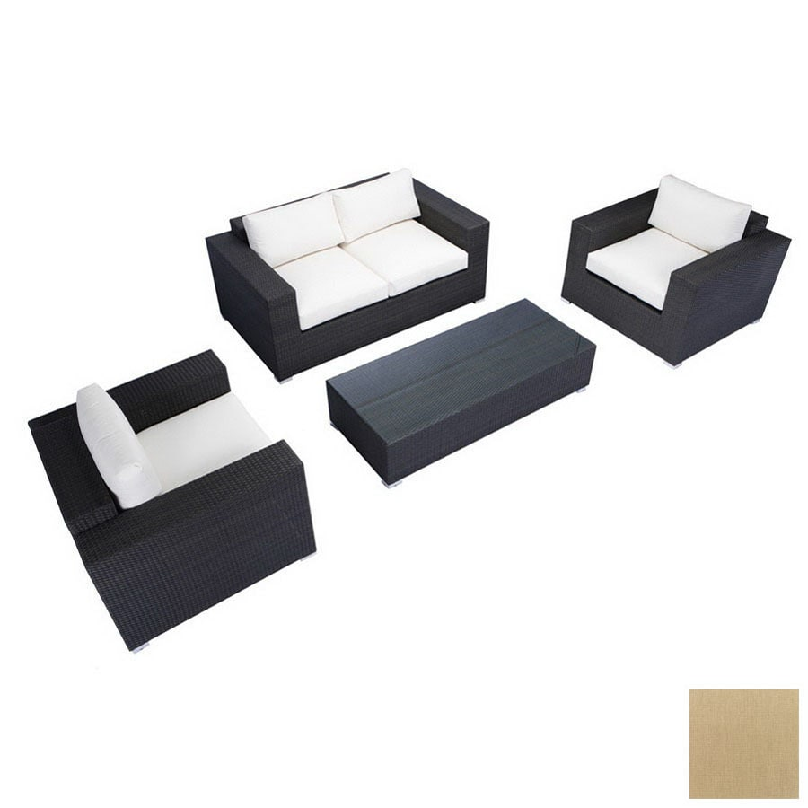 source outdoor 4 piece king brown aluminum patio conversation set with solid brown cushions brown set patio source outdoor