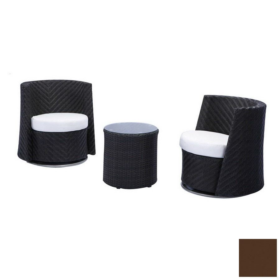 source outdoor 3 piece triumph brown aluminum patio conversation set with solid brown cushions brown set patio source outdoor