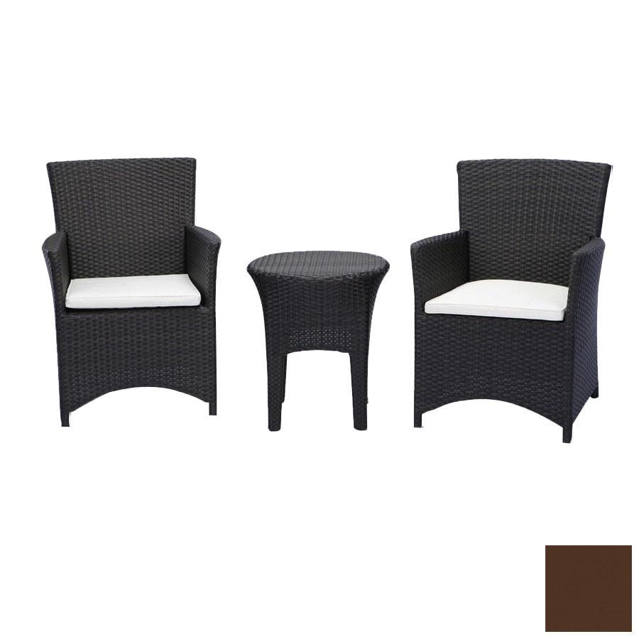 source outdoor 3 piece st tropez brown aluminum patio conversation set with solid brown brown set patio source outdoor