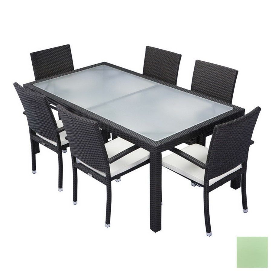 shop source outdoor 7 piece zen aluminum patio dining set at. Black Bedroom Furniture Sets. Home Design Ideas