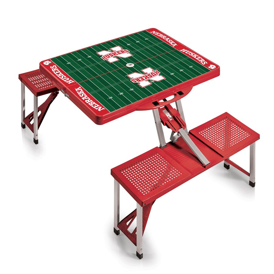Picnic Time 54 In Red Nebraska Cornhuskers Plastic Rectangle Collapsible  Picnic Table