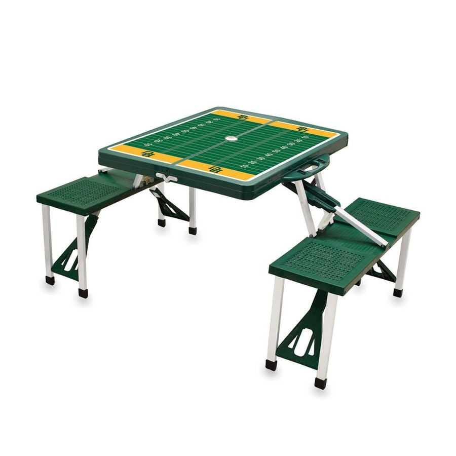 Picnic Time 54-in Green Baylor Bears Plastic Rectangle Collapsible Picnic Table
