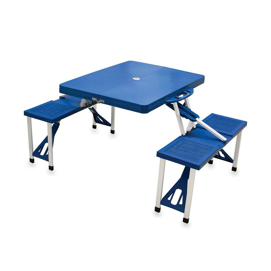 Picnic Time 4-ft 6-in Blue Plastic Rectangle Folding Picnic Table