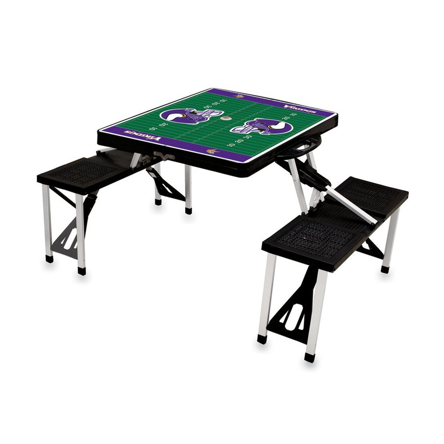 Picnic Time 34-in Black Minnesota Vikings Plastic Rectangle Collapsible Picnic Table