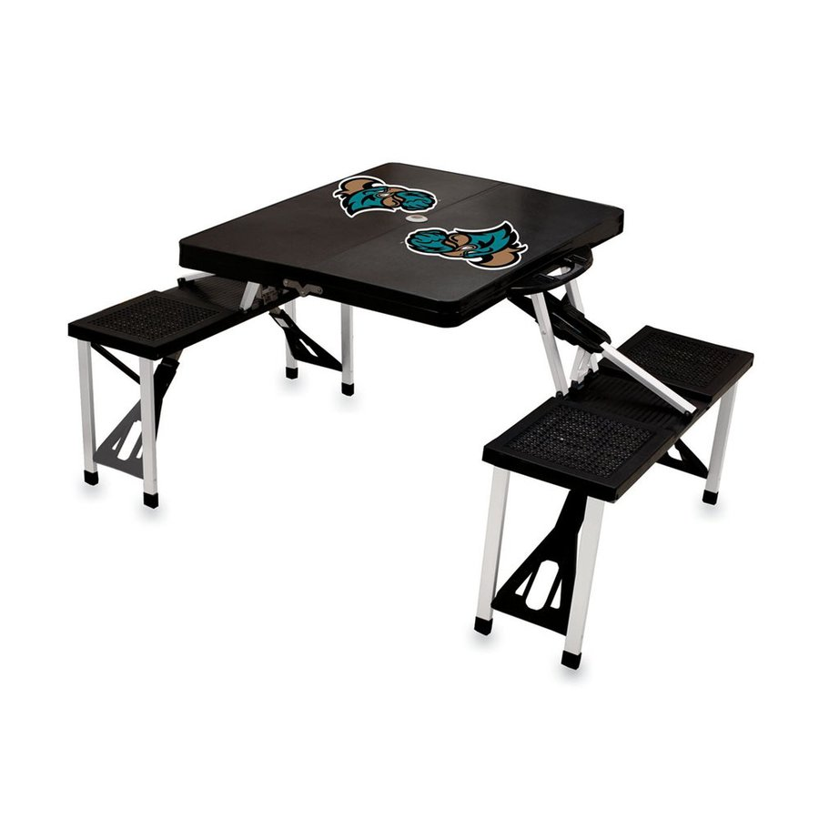 Picnic Time 54-in Black Coastal Carolina Chanticleers Plastic Rectangle Collapsible Picnic Table