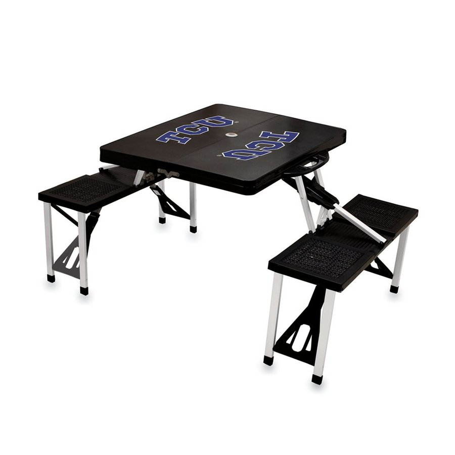 Picnic Time 54-in Black Texas Christian University Horned Frogs Plastic Rectangle Collapsible Picnic Table