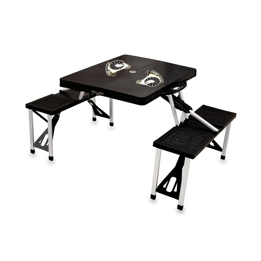 Picnic Time 54-in Black Virginia Commonwealth University Rams Plastic Rectangle Collapsible Picnic Table