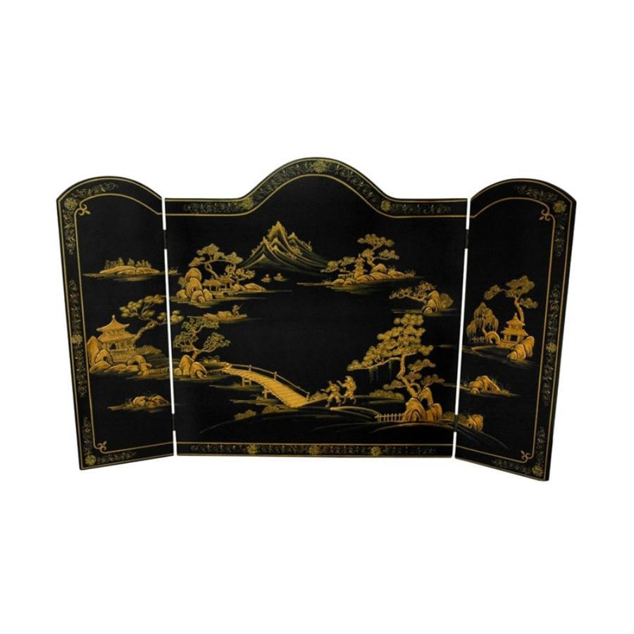Oriental Furniture 54-in Black Wood 3-Panel Craftsman Fireplace Screen