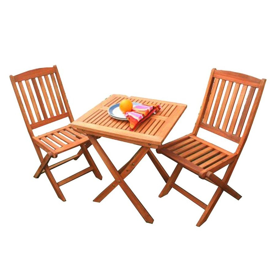 VIFAH Glaser 3-Piece Eucalyptus Bistro Patio Dining Set