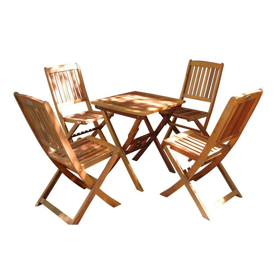 VIFAH Glaser 5-Piece Eucalyptus Bistro Patio Dining Set