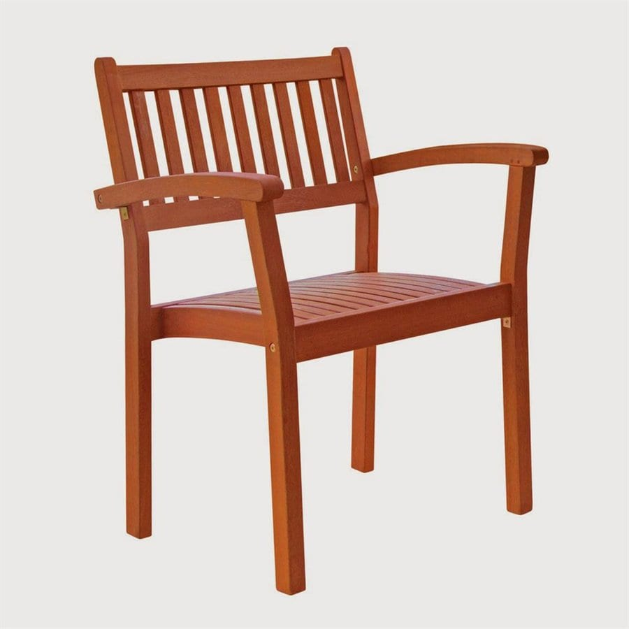 VIFAH Eucalyptus Stackable Patio Dining Chair