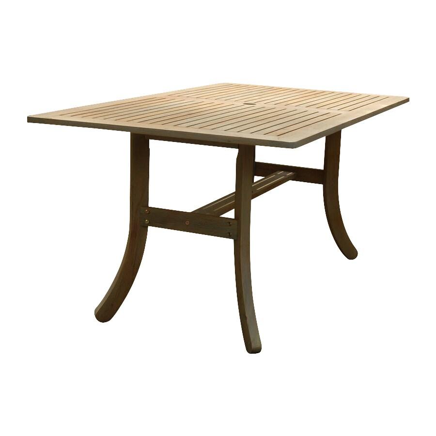VIFAH Atlantic 36-in W x 59-in L Rectangle Acacia Wood Dining Table