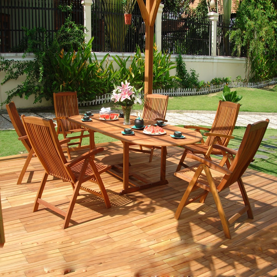 Shop vifah vista 7 piece eucalyptus patio dining set at for Outdoor furniture 7 piece