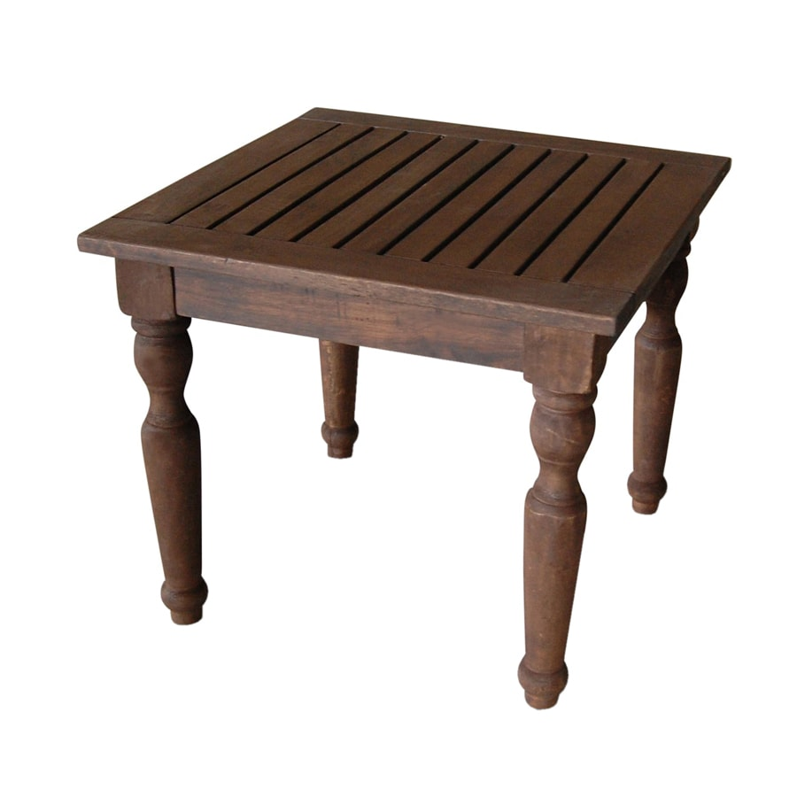 VIFAH 20-in x 20-in Oil Rubbed Wood Square Patio Side Table