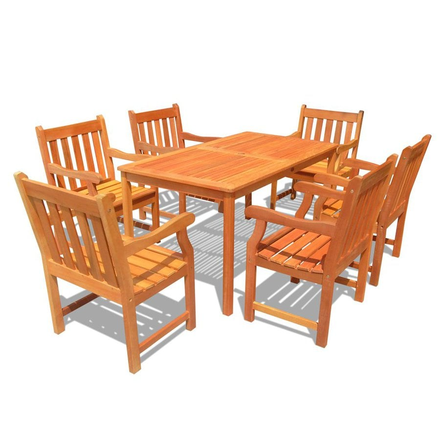 VIFAH Balthazar 7-Piece Natural Eucalyptus Patio Dining Set