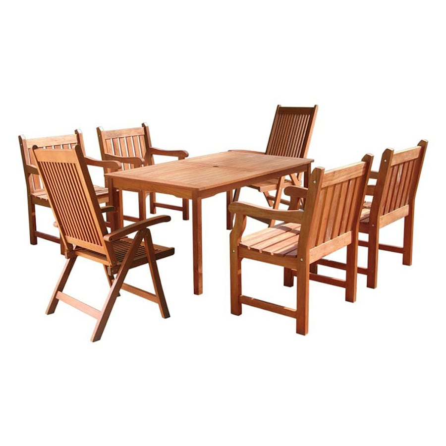 shop vifah balthazar 7 piece eucalyptus patio dining set at