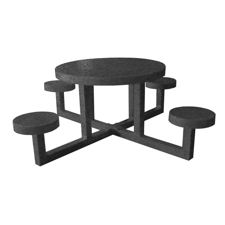 Ofab Gray Tatter Cast Aluminum Round Picnic Table