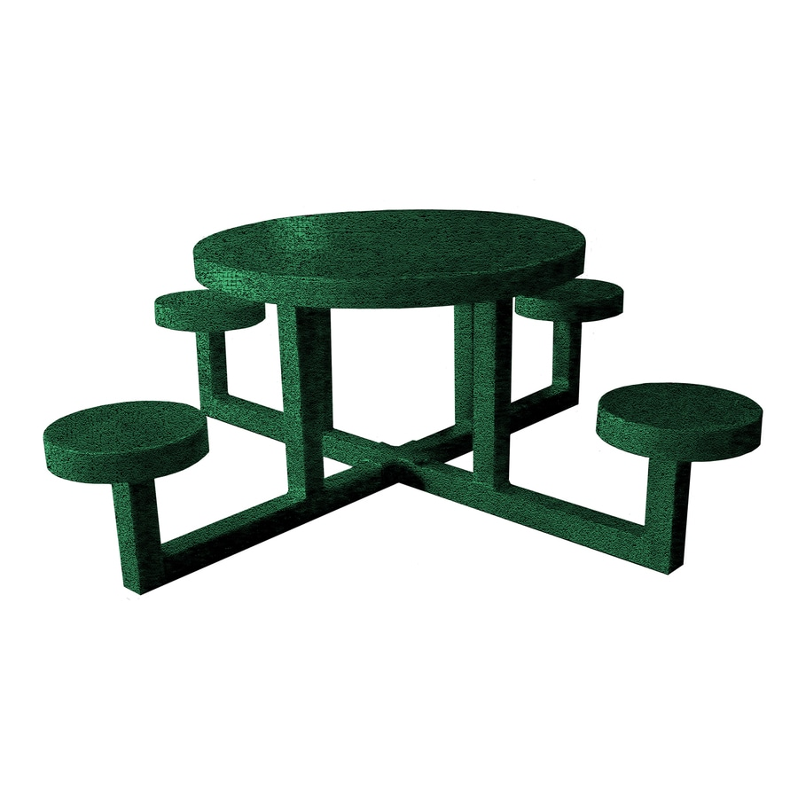 Ofab Green Tatter Cast Aluminum Round Picnic Table