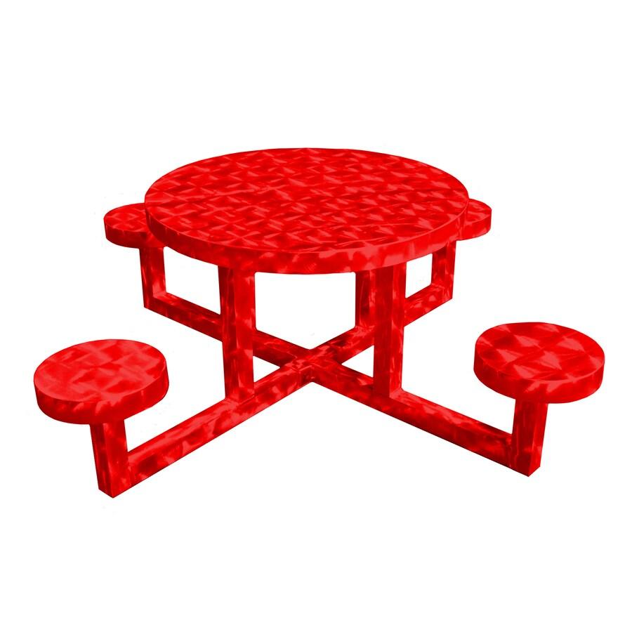 Ofab Red Translucent Cast Aluminum Round Picnic Table