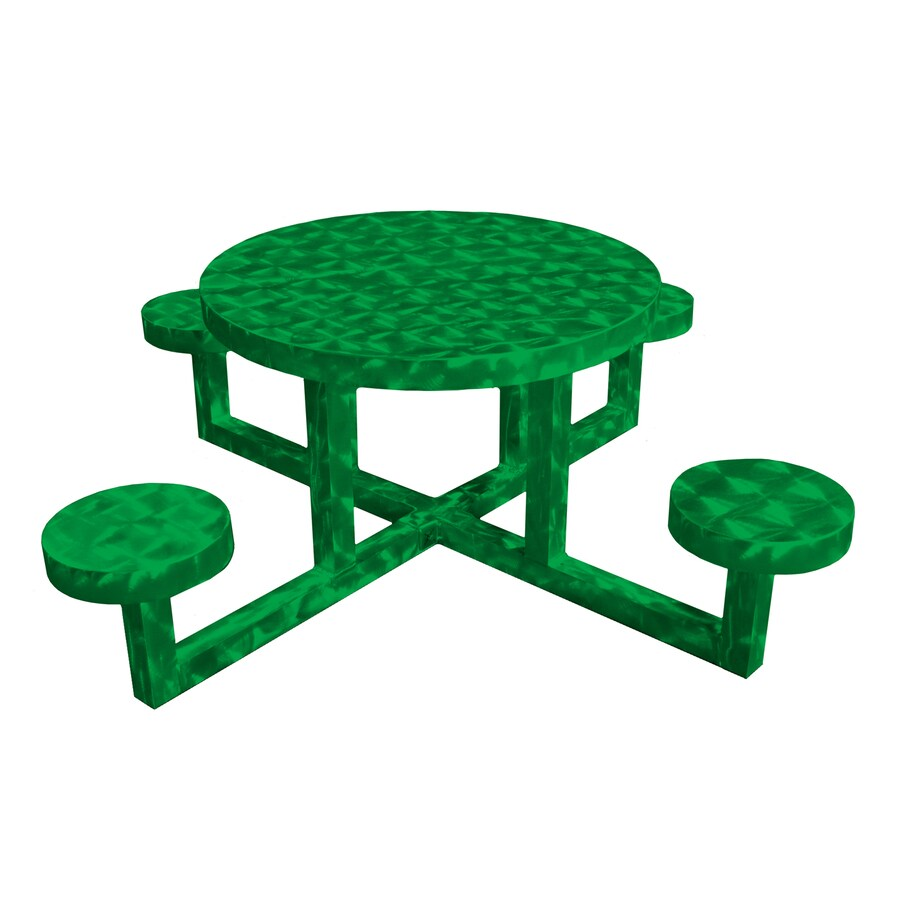 ... Ofab Green Translucent Cast Aluminum Round Picnic Table at Lowes.com