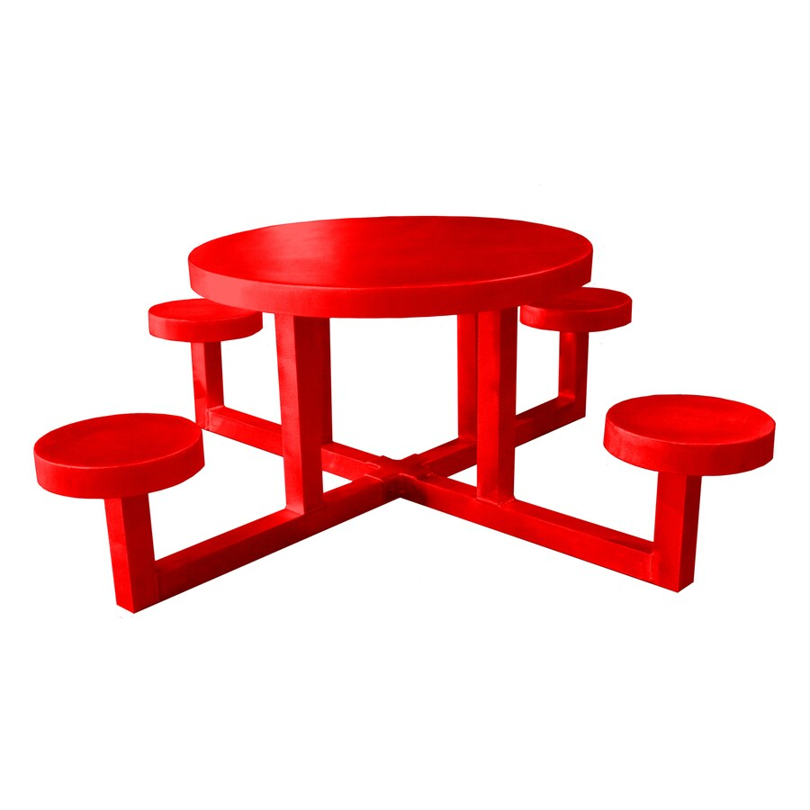 Ofab Red Cast Aluminum Round Picnic Table