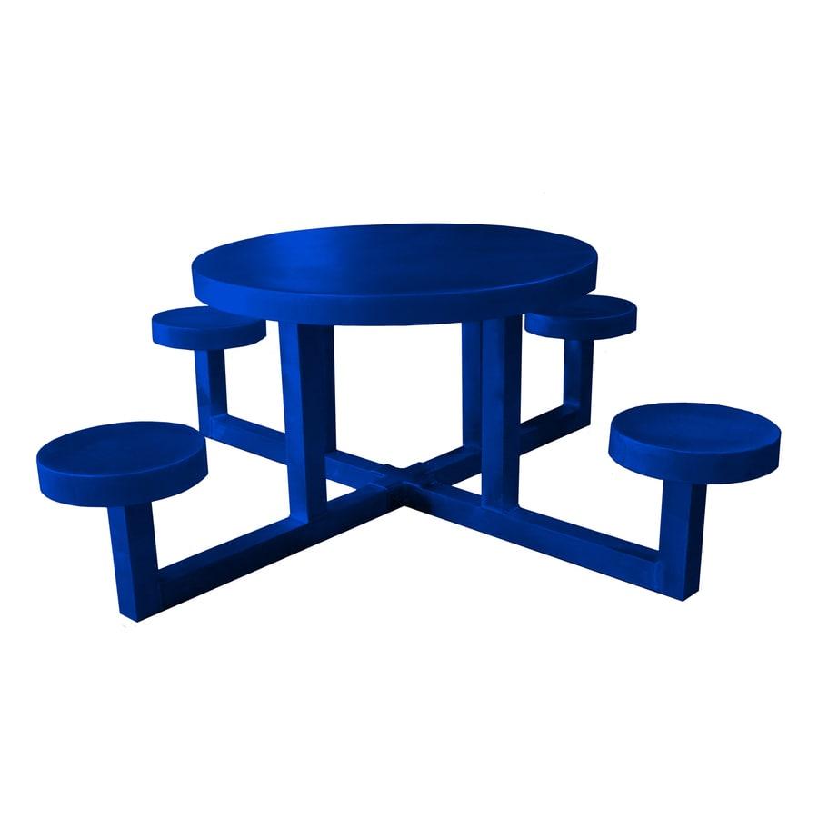 Ofab Blue Cast Aluminum Round Picnic Table